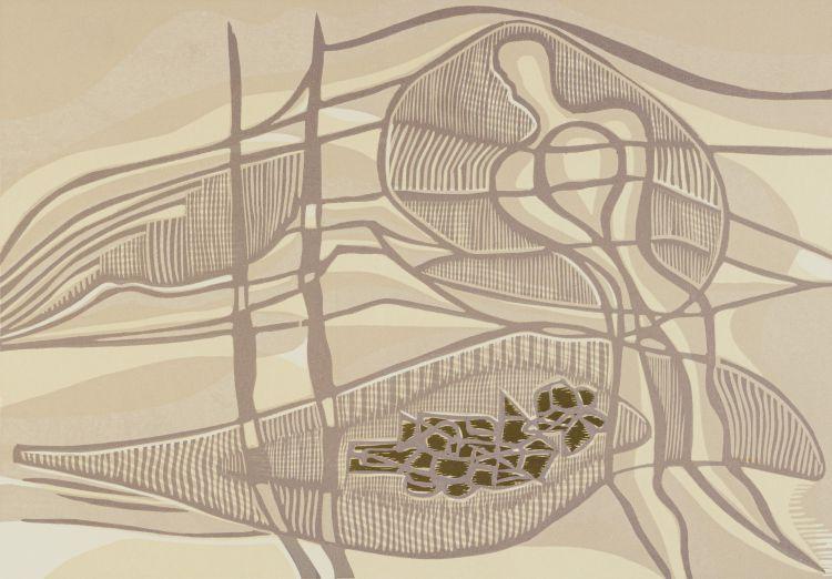 Cecil Skotnes; Figure in a Landscape (Grey and Brown)