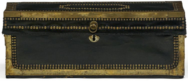A Chinese export leather and brass-bound camphorwood chest, 19th century