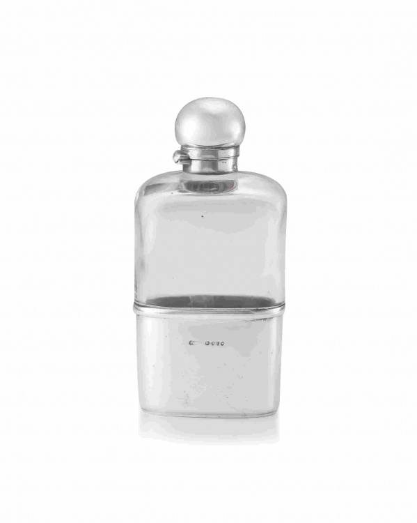 A Victorian silver-mounted glass hip flask, Frederic Purnell, London, 1886