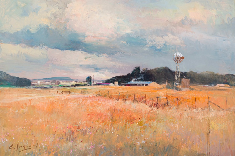 Christopher Tugwell; Farm Buildings with Windmill