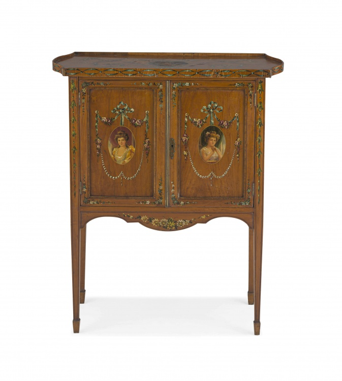 An Edwardian mahogany and painted cabinet