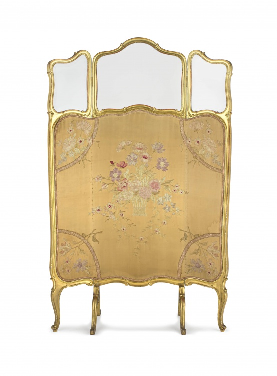 A Victorian three-fold giltwood and upholstered screen
