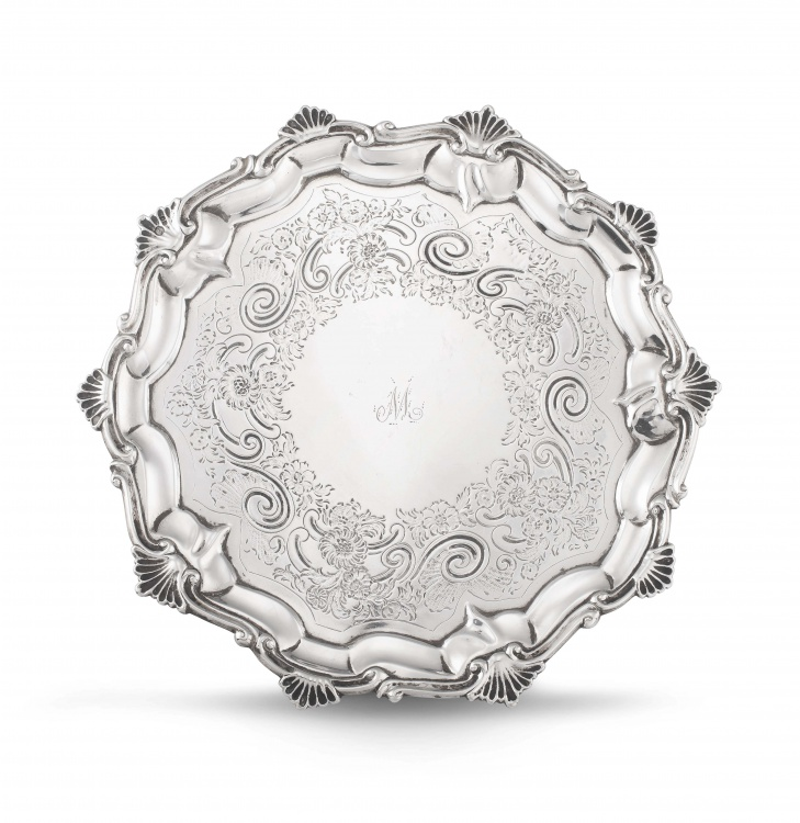 A George III silver salver, Thomas Hannam & John Crouch, London, 1804 with 1851 Victoria duty stamp for William Cooper