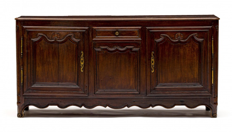 A French Provincial oak and walnut buffet, 19th century