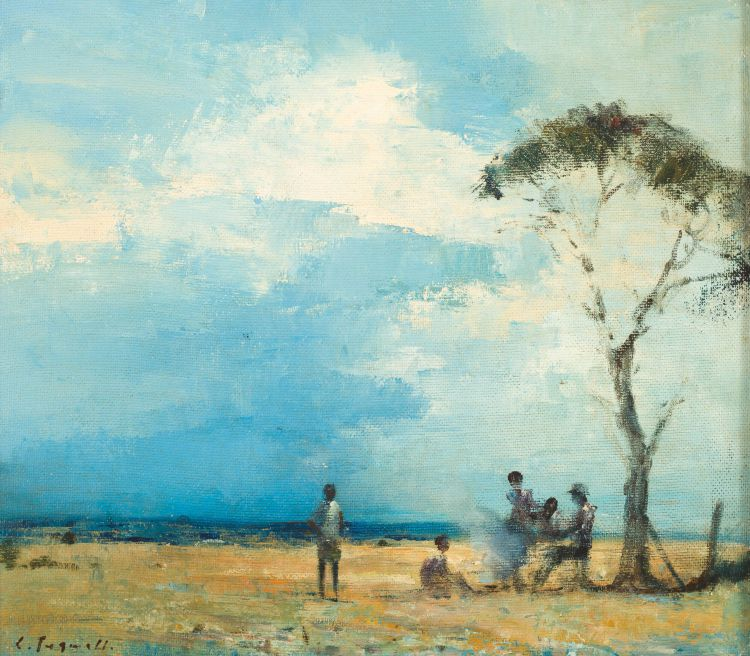 Christopher Tugwell; Landscape with Figures Beneath a Tree