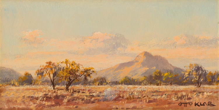 Otto Klar; Landscape with Trees and Mountain