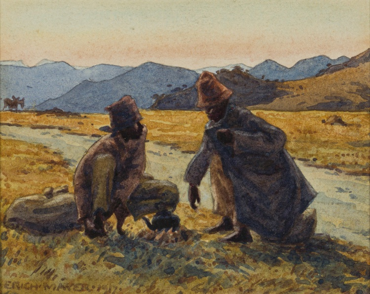 Erich Mayer; Two Men at a Camp Fire