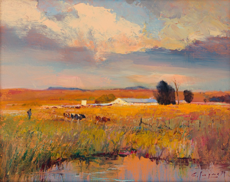Christopher Tugwell; Farm Landscape with Cattle