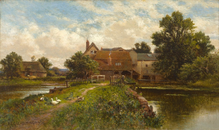Alfred Glendening, Snr; A Farmhouse by a River