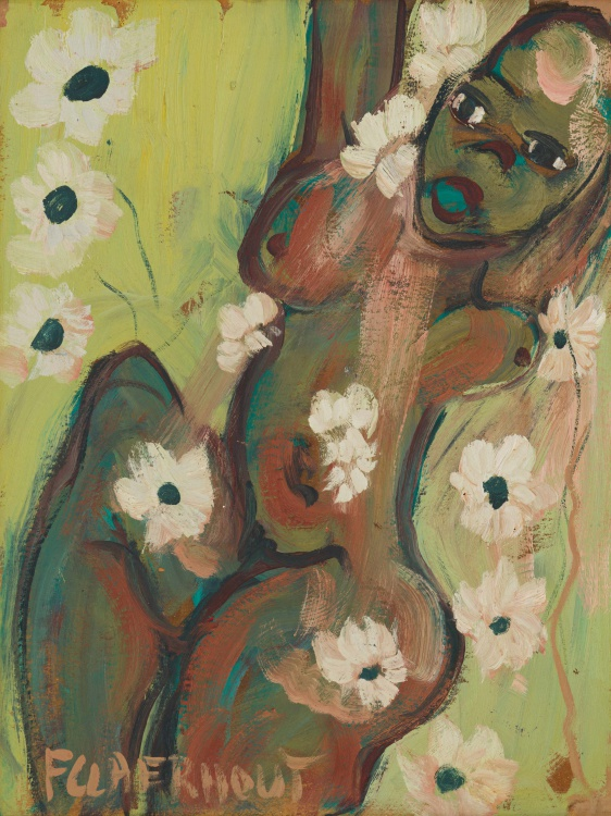 Frans Claerhout; Nude with Flowers