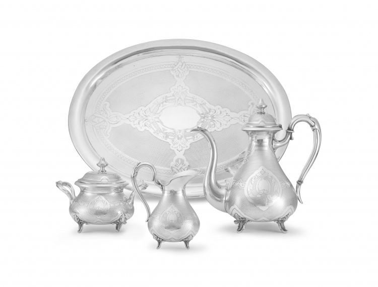 An Austro-Hungarian silver plate four-piece coffee service, late 19th century