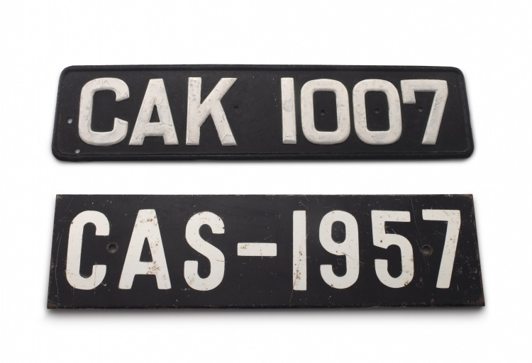 A black and white painted steel vehicle registration number plate CAK 1007, Bredarsdorp & Napier