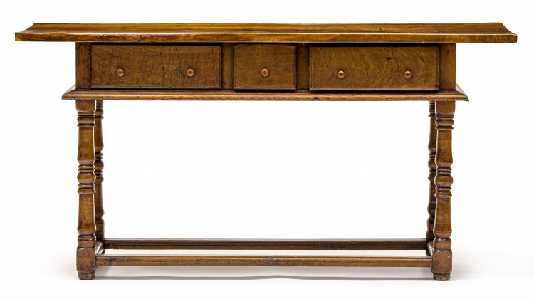 A French oak and walnut side table, 19th century and later