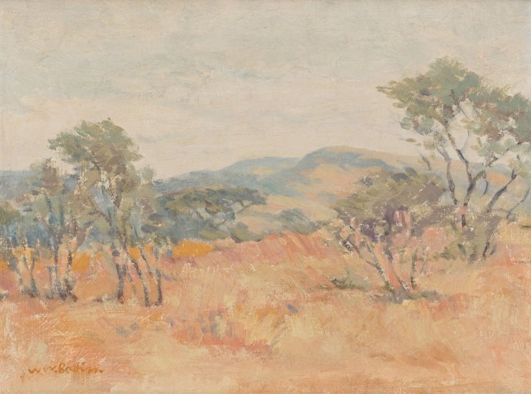 Walter Battiss; Landscape with Distant Mountains