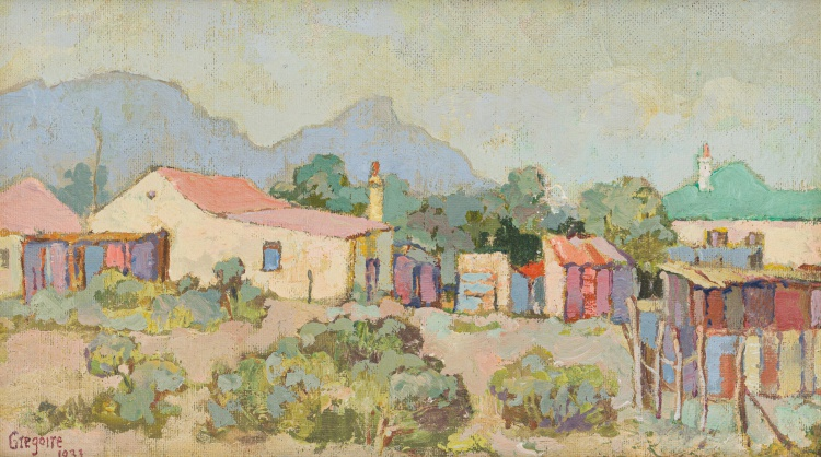 Gregoire Boonzaier; Houses with Mountains Beyond