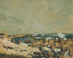 Clement Serneels; A Coastal Landscape with Figures