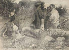 Frans Oerder; Four Men resting in a Landscape