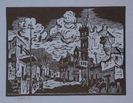 Gregoire Boonzaier; Straat met Toring en Lamppaal