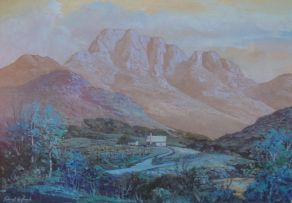 Gabriel de Jongh; A Mountainous Landscape with Cottages