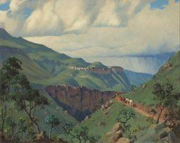 Willem Hermanus Coetzer; Lesotho Landscape with Men on Horses