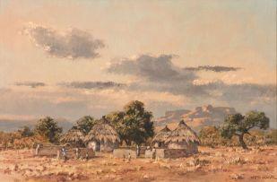 Otto Klar; A Rural Village with Figures in a Mountainous Landscape
