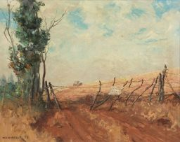 Willem Hermanus Coetzer; A Farm Road with a Cart and Horses in the Distance
