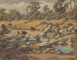Erich Mayer; Cattle Drinking at a River