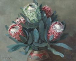 Willem Hermanus Coetzer; A Still Life with Proteas