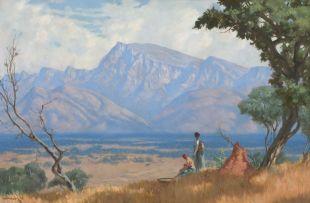 Willem Hermanus Coetzer; Drakensberg Landscape with Mothers and Children