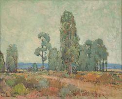 Piet van Heerden; Bluegum Trees in a Karoo Landscape