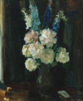 Clement Serneels; Peonies and Delphiniums