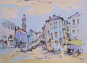 Gregoire Boonzaier; A Canal Scene in Venice