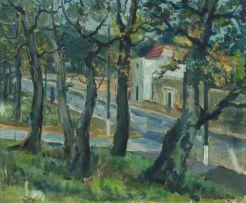 Piet van Heerden; A Street Scene with Trees