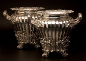 A pair of George III silver wine coolers and liners, Paul Storr, London, 1819