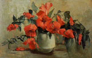 Frans Oerder; Still Life of Hibiscus