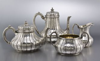 A Victorian silver tea service, John Samuel Hunt for Hunt & Roskell Late Storr & Mortimer, London, 1858