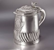 A Queen Anne silver lidded tankard, John Fletcher, London, 1704