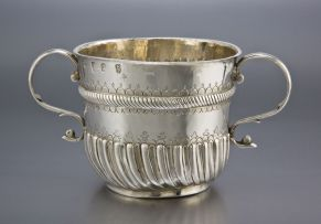 A William III silver two-handled porringer, Nathaniel Lock, London, 1697