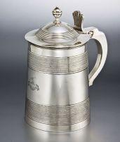 A George III silver lidded tankard, Timothy Renou, London, 1801