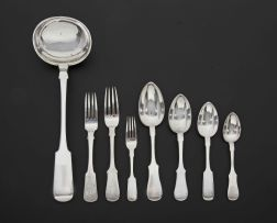 An assembled set of Russian silver 'Fiddle' pattern flatware, various makers' and dates, 1869 - 1917