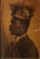Frans Oerder; Portrait of a Man with Feathered Headdress