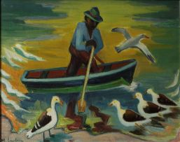 Maggie Laubser; Fisherman in a Boat with Seagulls