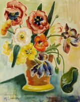 Maggie Laubser; Spring Flowers in a Vase