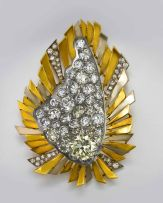 A diamond and gold double brooch and pendant