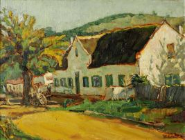 Moses Kottler; Thatch-roofed Cottage, Mark Street, Stellenbosch