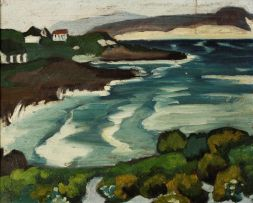 Maggie Laubser; Houses by the Sea, recto, Autumn Trees, verso