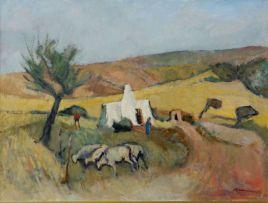 Piet Kannemeyer; Farm Cottage with Sheep