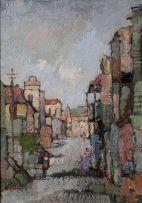 Gregoire Boonzaier; Straatjie met Hoë Geboue, Distrik Ses