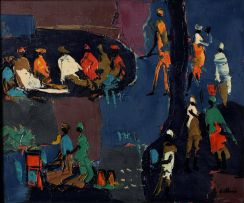 Walter Battiss; Limpopo Scene in Blue