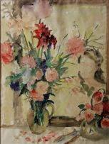 Maud Sumner; Flowers in a Glass Jug